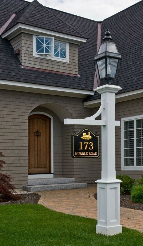 Pin by ness lopez on focus on the lighting pinterest yards lamp post with sign love the house too but if i had this lamp post id have the lantern the same color as the pole aloadofball Choice Image