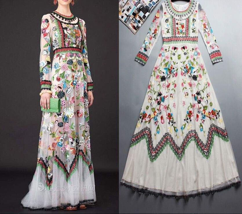 Vogue Womens Embroidered Flowers Long Sleeve Lace Tulle Vintage Full Long Dress