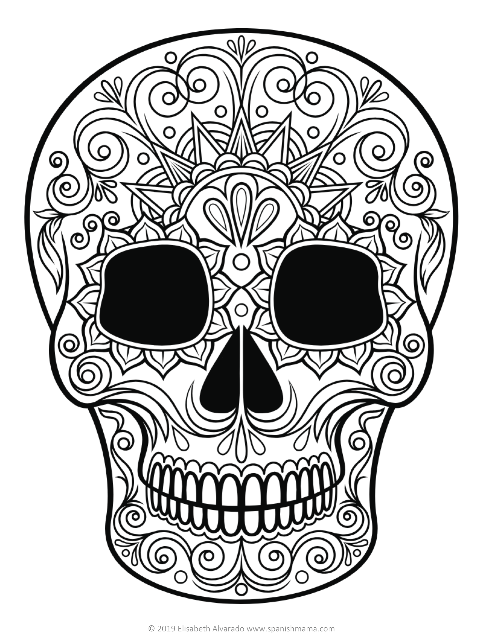 Sugar Skull Coloring Pages And Masks For Dia De Muertos Skull Coloring Pages Sugar Skull Images Coloring Pages