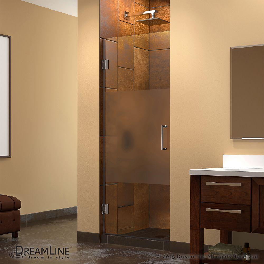 Unidoor 23 Inch X 72 Inch Frameless Hinged Pivot Shower Door In