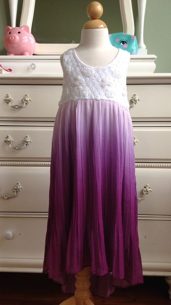 TRULY ME Purple Ombre Pleated Hi-Lo Dress Size 8 #TRULYME #Dressy
