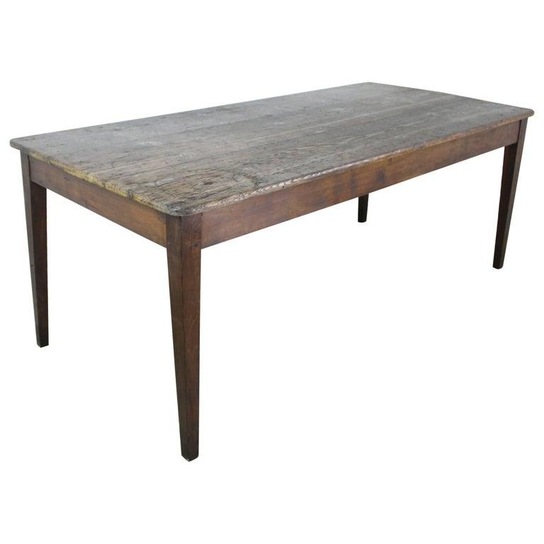 Antique French Scrubbed Top Pine Farm Table Antique farm