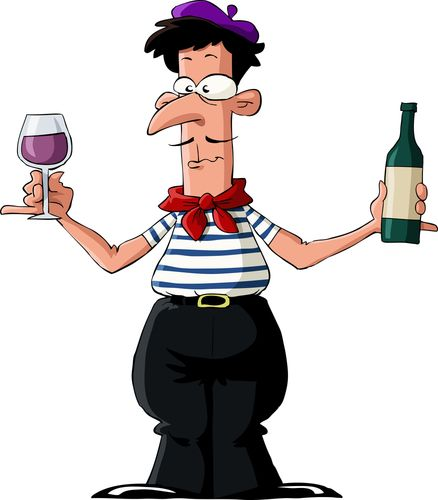 this picture of a french man implies that they all drink