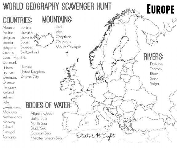 World Geography Scavenger Hunt: Europe ~ FREE Printable | Homeschool ...
