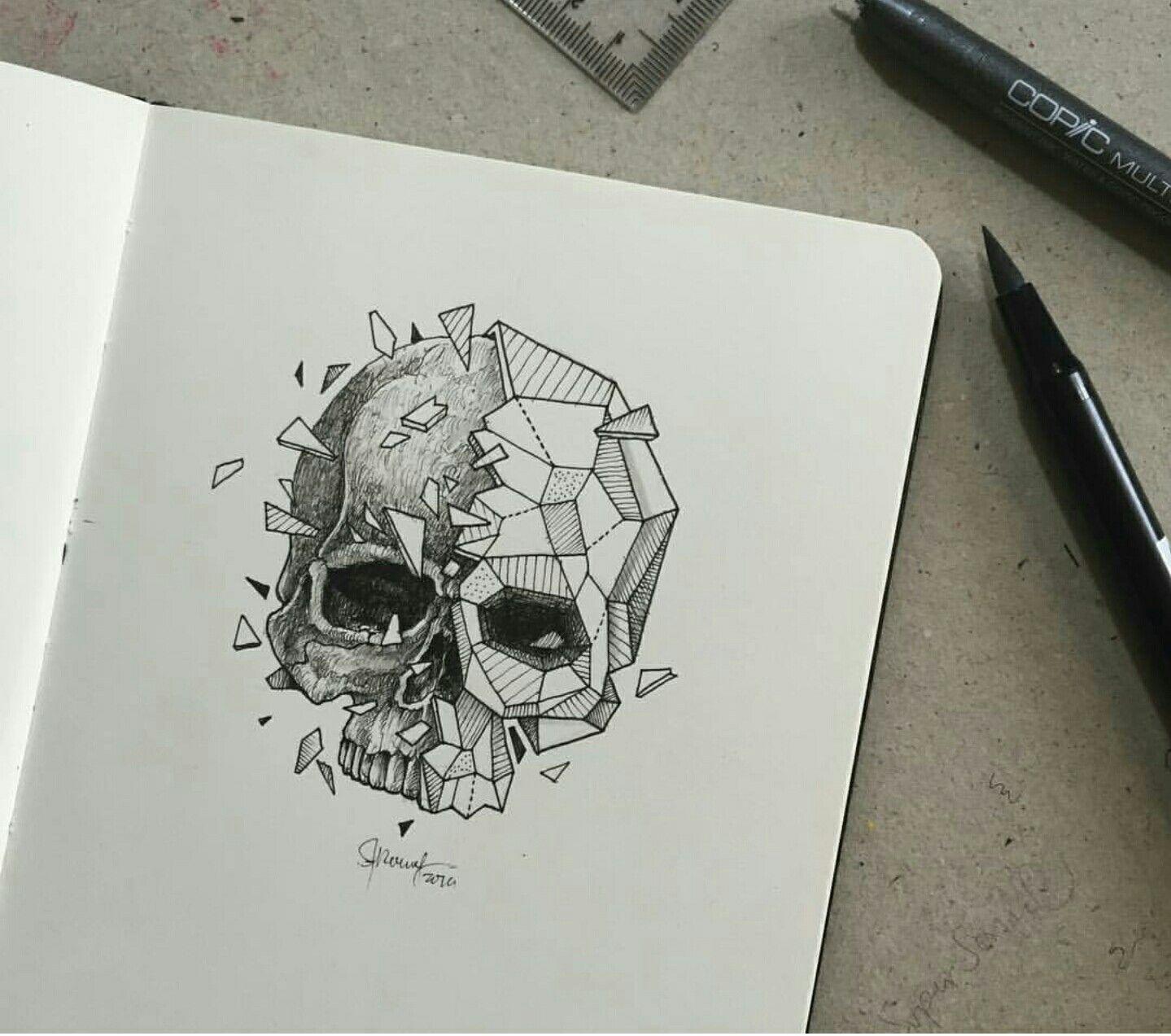 Skull geometric beasts zuk nftige projekte pinterest - Zeichnen ideen ...