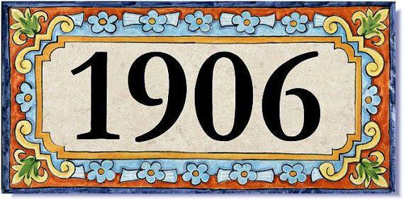 House Number Address Tile Spanish Design Custom Sign Plaque Porcelain On Etsy 110 00