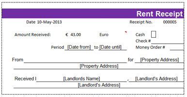 Rent Receipt With Magenta Colored Strip On Top  Microsoft Excel