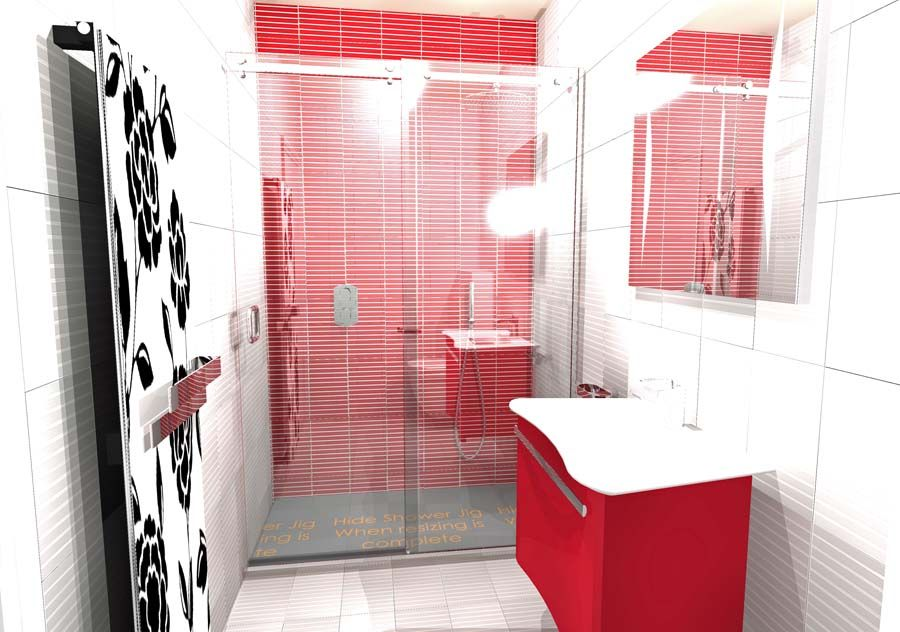 A striking red and white shower room with elegant red vanity unit ...