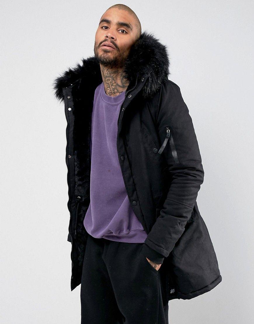 Gutscheincode 181f5 21a12 Sixth June Parka Jacket In Black With Faux Fur Hood - Black ...