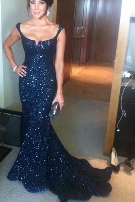 Navy Sequin Prom Dress,Navy Sequin Evening Dress,Evening Dress ...