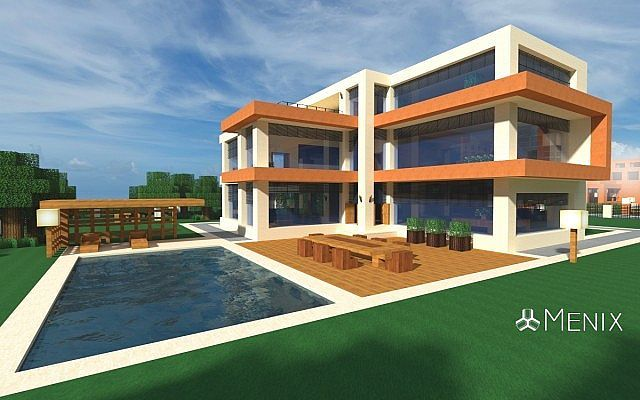 Modern house 3 menix house series minecraft project for Casa moderna omarzcraft