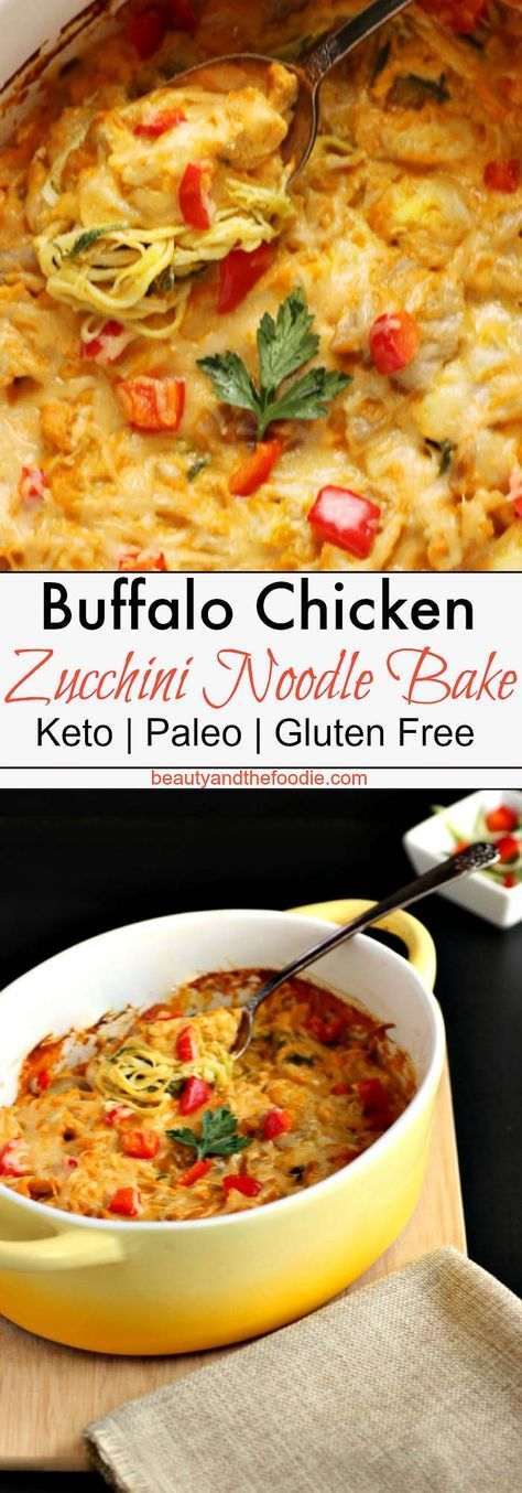 Creamy Buffalo Chicken Zucchini Noodle Bake- Low Carb, Keto and Gluten Free #zucchininoodles