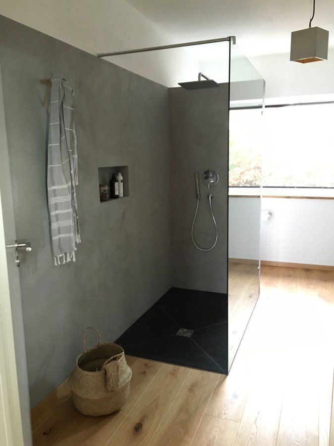 Beton und Holz im Bad 2 Bath, Interiors and House