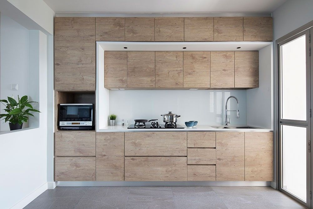 Like The Raw Wood Look Can Have Raw Wood Cabinet White Counter Black Fixtures Best Kitchen Layout Design Your Kitchen Kitchen Layout