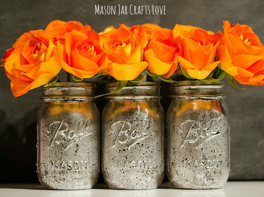 Mercury Glass How To Mason Jar Crafts Mason Jars Painted Mason