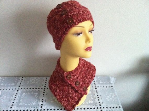 Knitting Women Headband And Cowl Set Valentine's by zahraknitting, $44.90