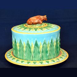 Majolica antique Victorain cheese domes and keepers by Alastair Bruce