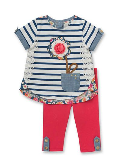 Rare Editions Stripe Flower Mixed Top and Legging Set Toddler Girls