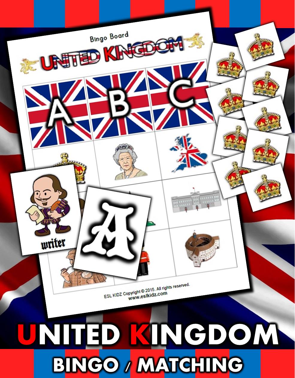 United Kingdom Matching / Bingo Game Set Bingo Matching