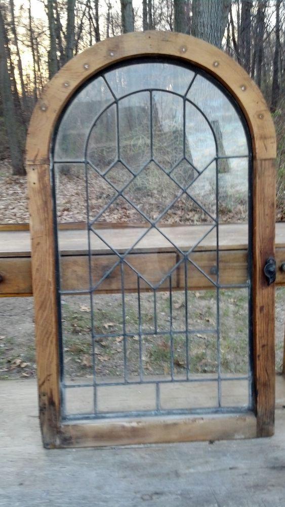 Antique Vintage Lead Glass Arch Window Art Deco Eastlake Geometric