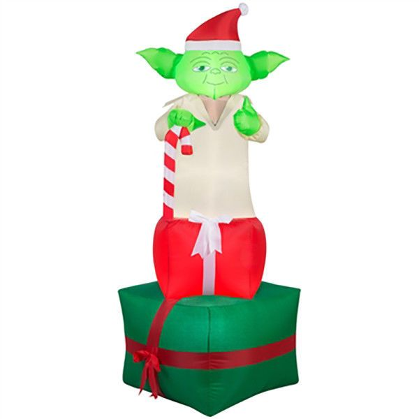 STAR WARS Gemmy 6 ft Inflatable YODA Lights Up Christmas Outdoor - christmas blow up decorations