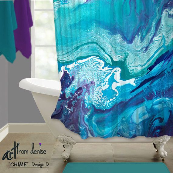 Teal Navy Turquoise And Purple Shower Curtain