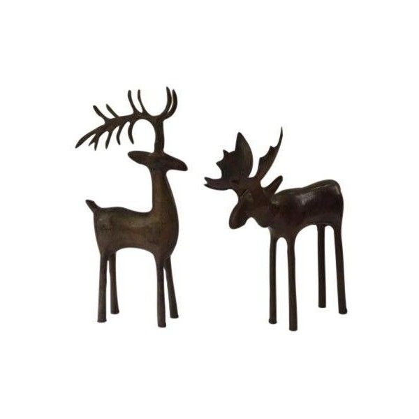 Rustic Woodland Deer Moose Figures A Pair 65 ❤ Liked On Rhpinterest: Moose Figurines In Home Decor At Home Improvement Advice