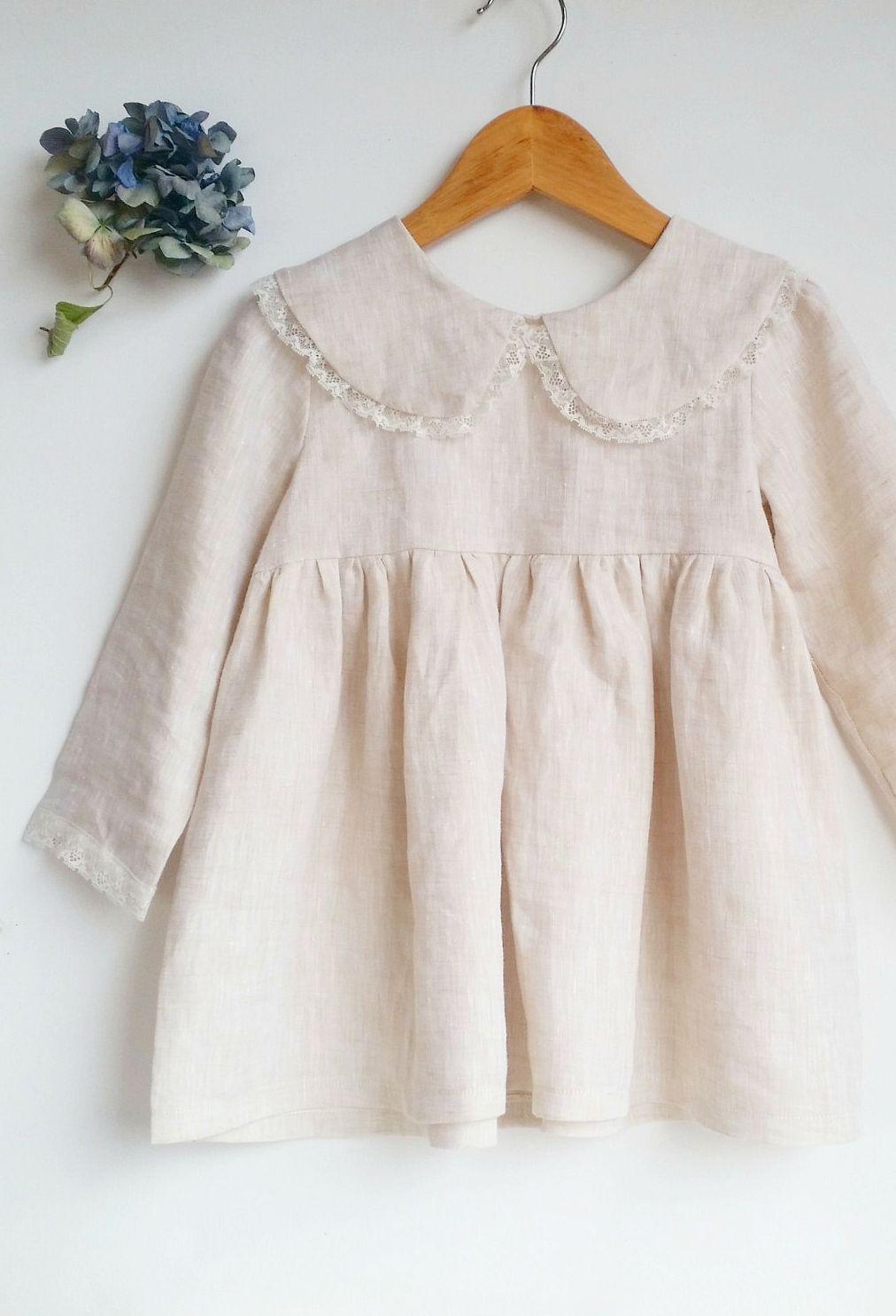 1c6eec03b6 Girls Handmade Linen   Lace Dress With Peter Pan Collar