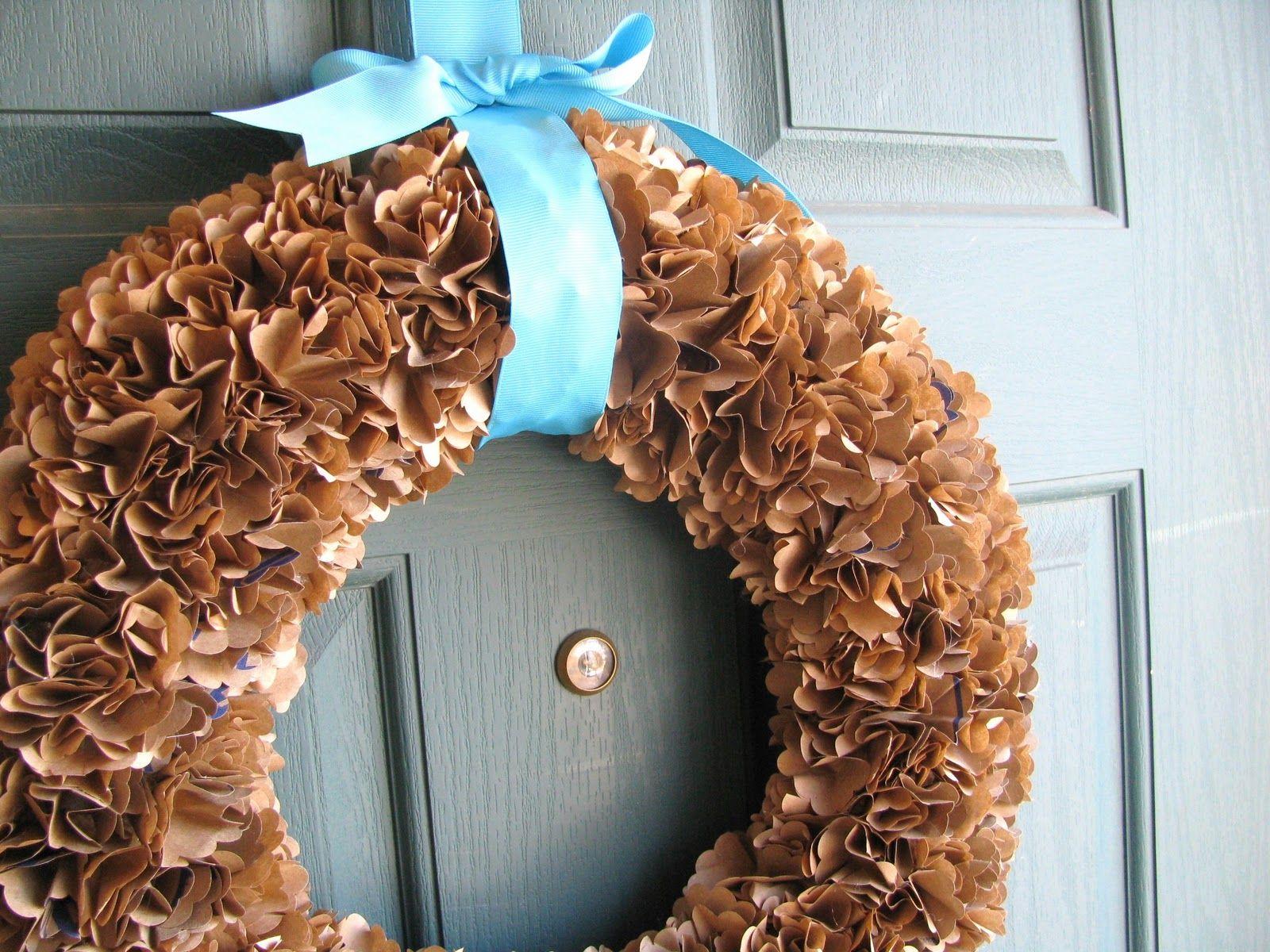 paper bag wreath cute! Fall wreaths, Wreaths