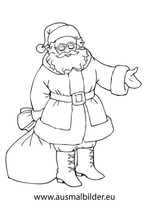 Ausmalbild Nikolaus Mit Seinem Sack Ausmalbilder Nikolaus Ausmalbilder Ausmalbilder Weihnachtsmann