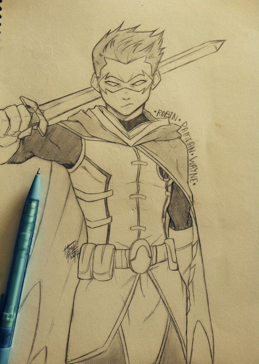 Robin Damian Wayne Desenho Batman Arte Dc Comics Robin Desenho