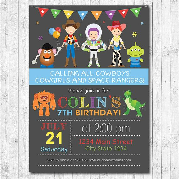 Toy Story Birthday Invitation Toy Story Invite by funkymushrooms Z