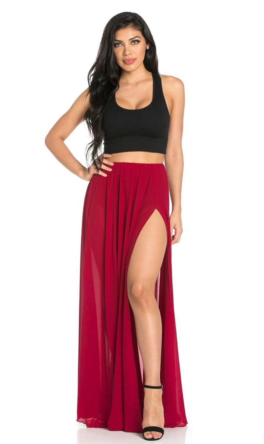 06e67a42ae Double Front Slit Chiffon Maxi Skirt in Burgundy (Plus Sizes Available) at…