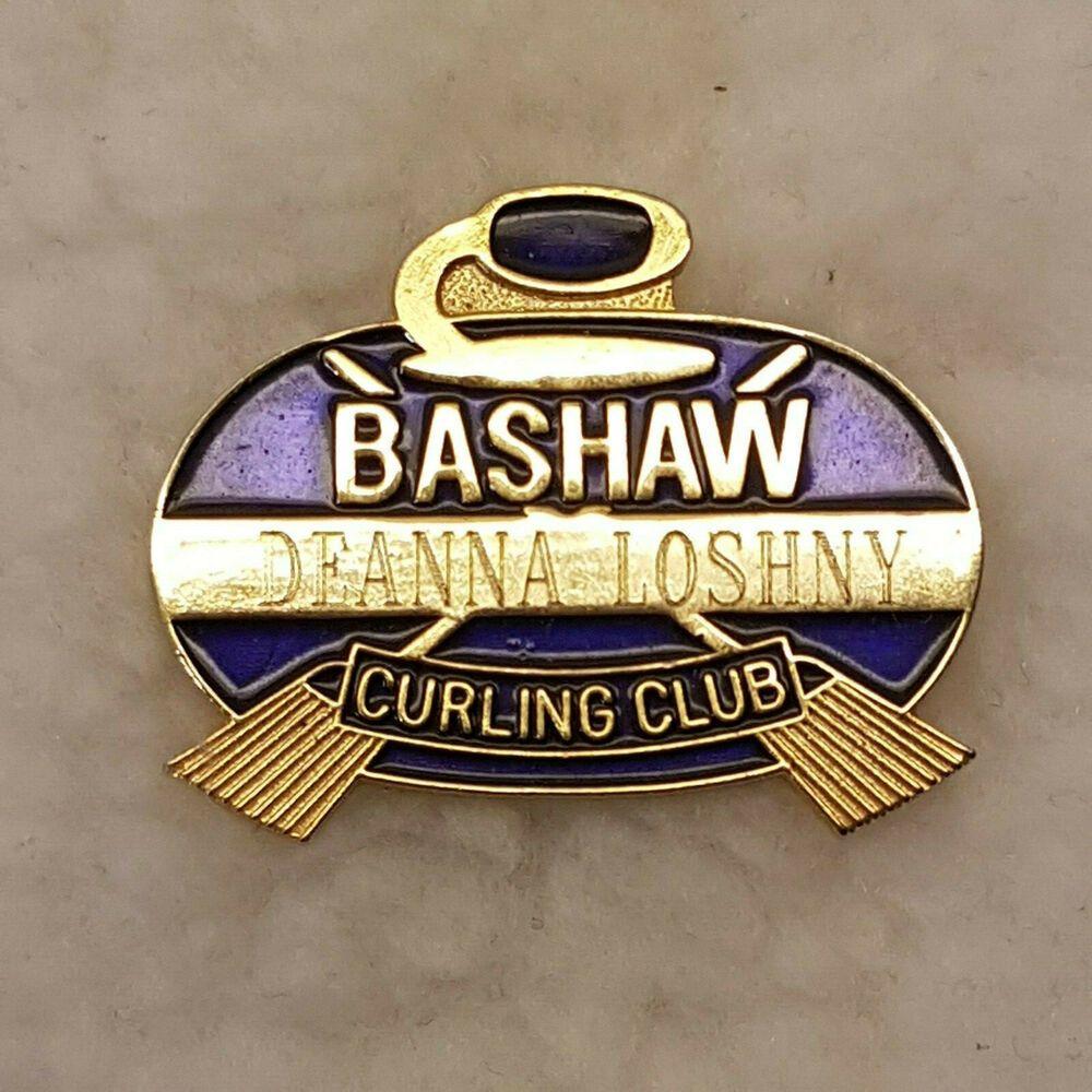 Vintage Bashaw Curling Club Alberta Canada Enameled Member Pin