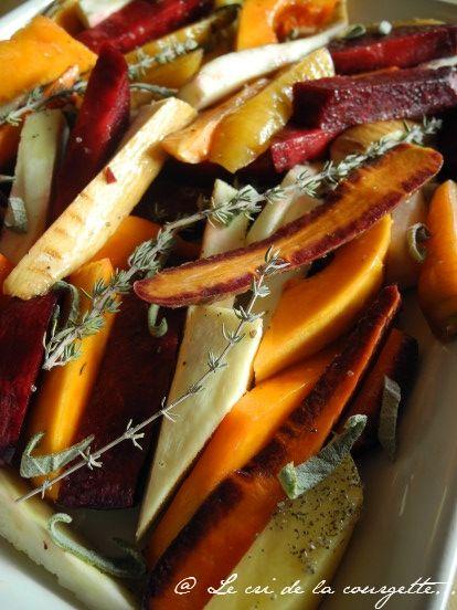 Légumes rôtis (panais, potimaron, betterave,...) au thé lapsang souchong