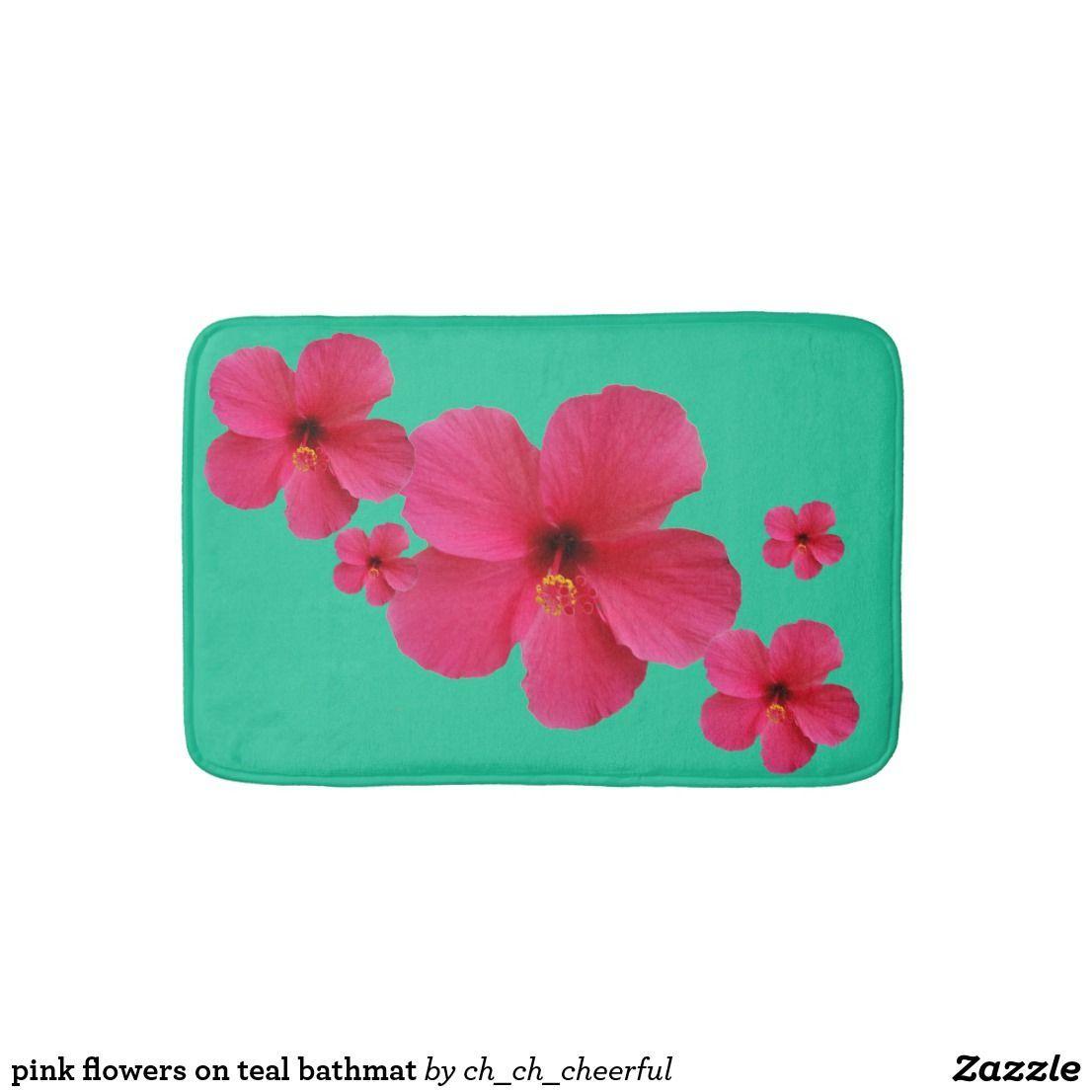 pink flowers on teal bathmat   Zazzle.com#bathmat #flowers #pink #teal #zazzlecom
