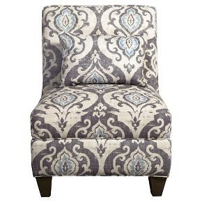 Blue Slate Collection Accent Chair Gray And Light/Large DamaskHomepop