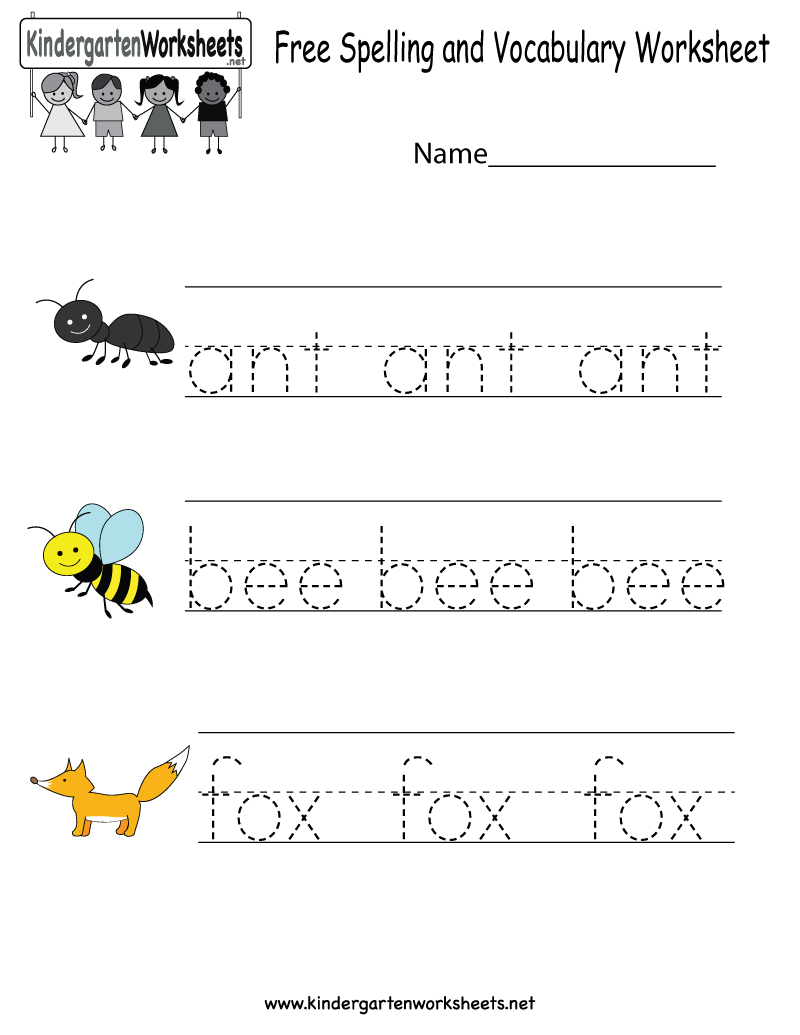Kindergarten Free Spelling And Vocabulary Worksheet
