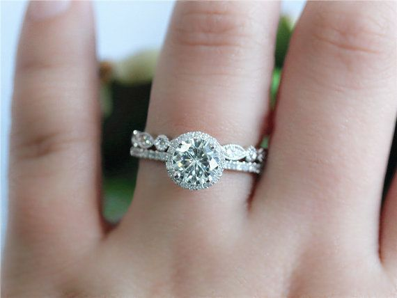 White Gold Wedding Ring Set Moissanite By Gembysheri