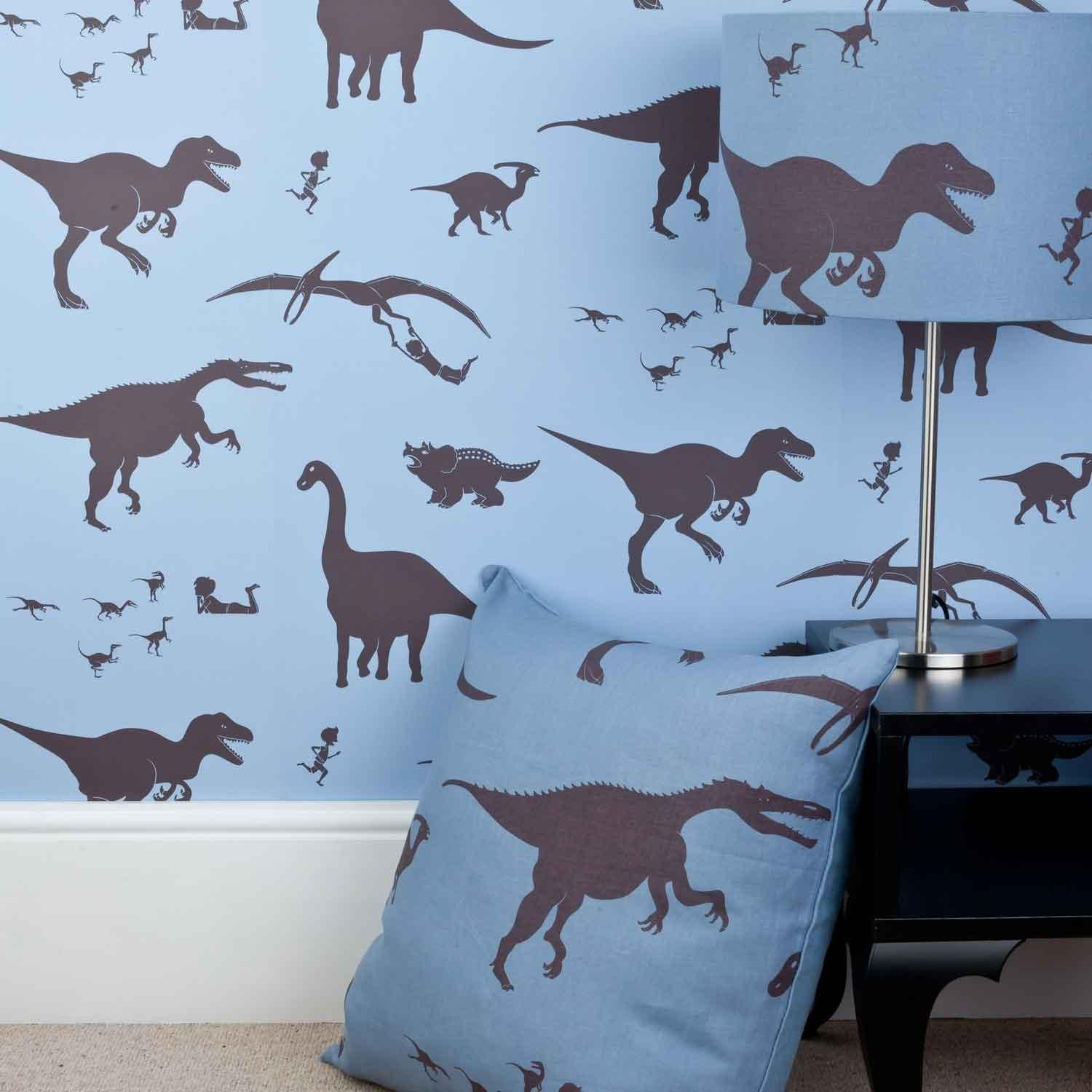 Blue Dinosaur Wallpaper for Children