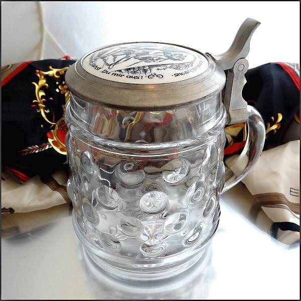 Vintage German Beer Stein Dot Glass Picture Lid Pewter Hinge $35