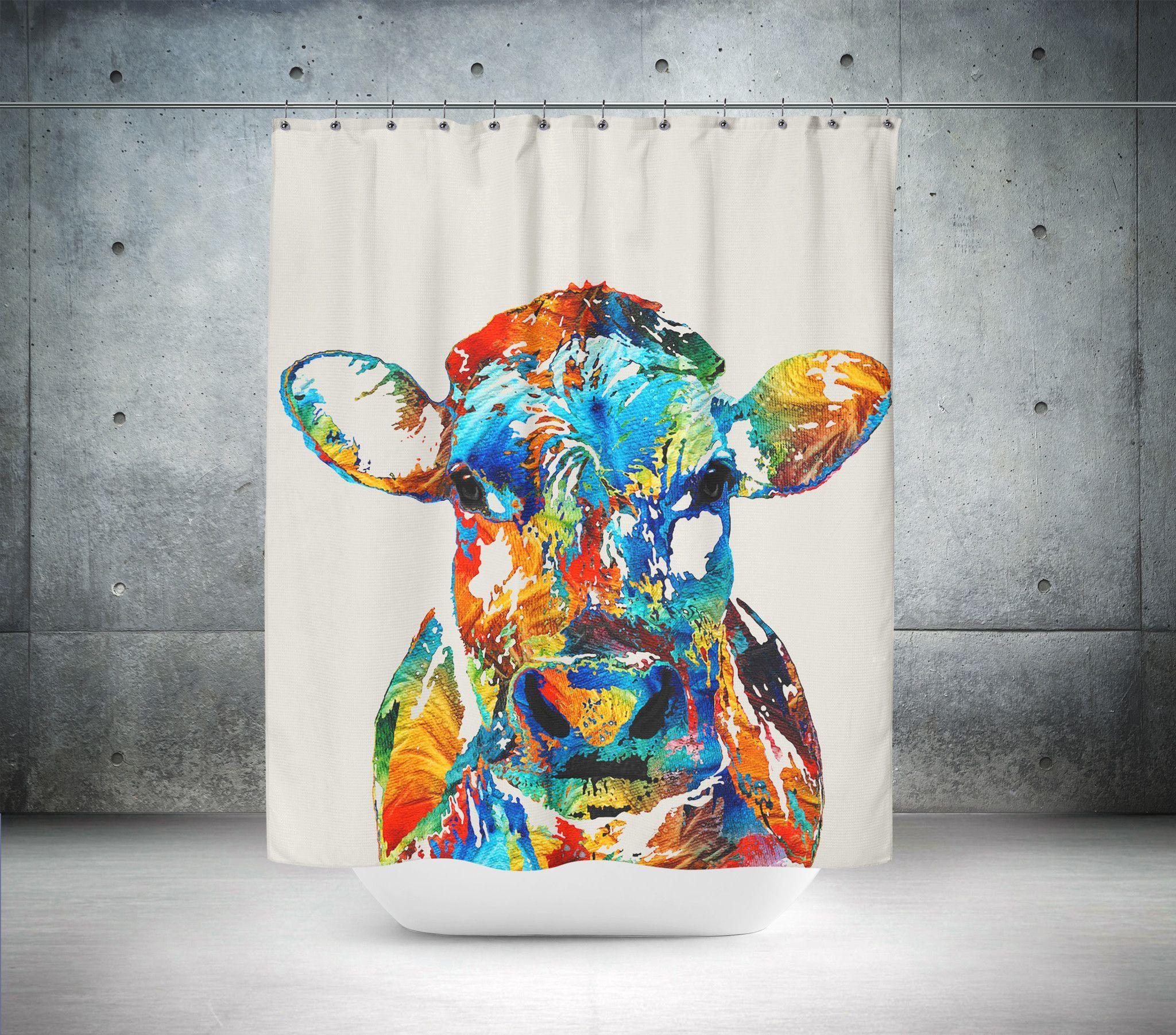 Artistic cow shower curtain primitive bathrooms