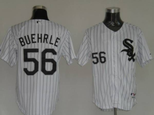 white sox 56 mark buehrle embroidered white black strip mlb jersey only 21.50usd