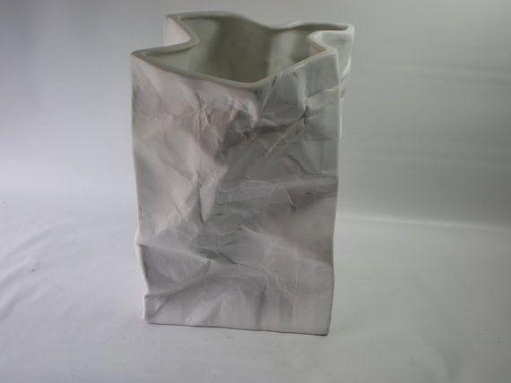 Vintage Italian White Ceramic Bag by GiddyNowVintage on Etsy