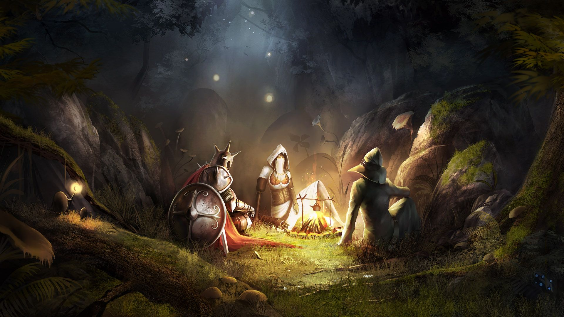 Trine Artwork Warriors Dungeons And Dragons Soft Shading Wallpaper Fantasy Pictures Campfire Stories Fantasy Background