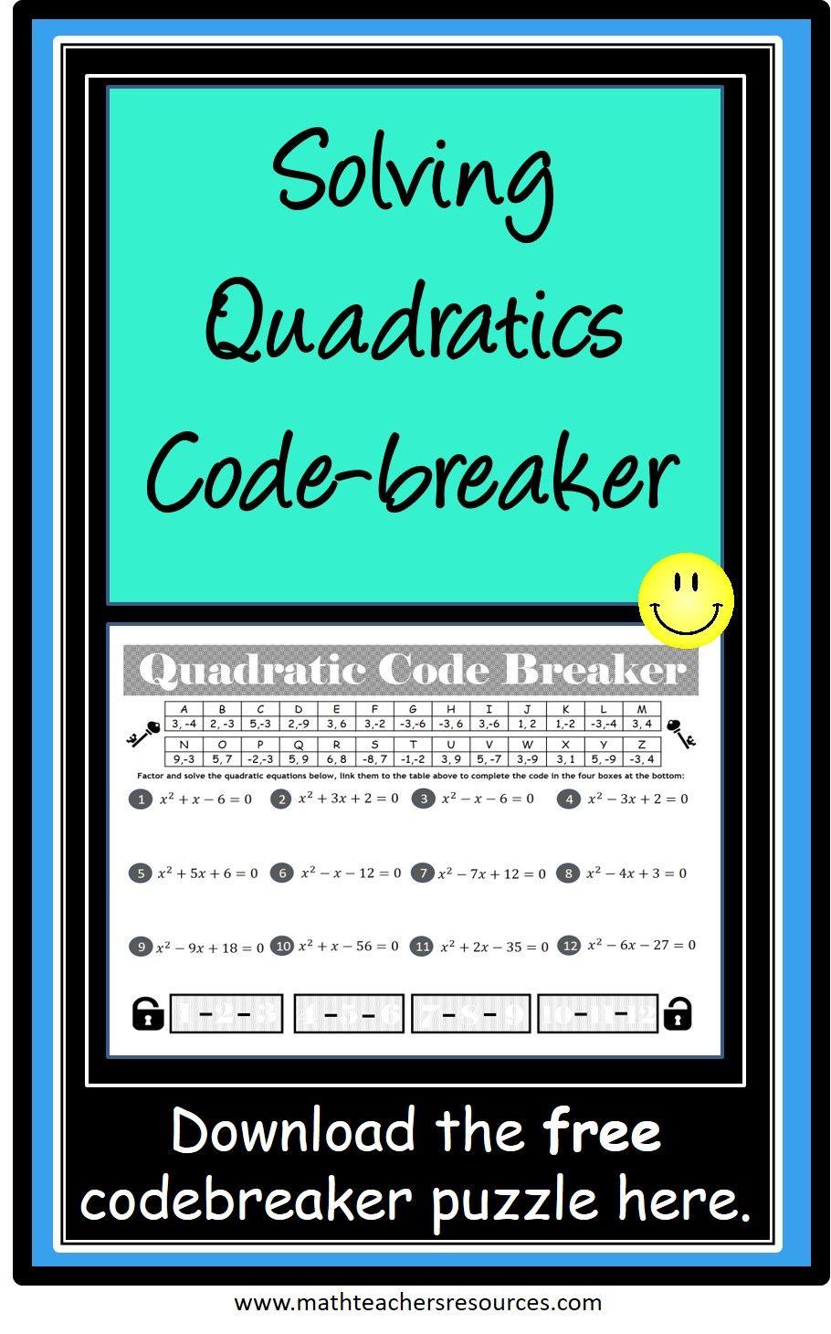 Solving Quadratic Equations Activity Quadratics Solving Quadratic Equations Factoring Quadratics Activities