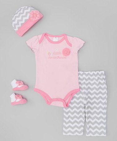 Look at this #zulilyfind! Pink & Gray 'Little Sweetheart' Bodysuit Set - Infant by Baby Essentials #zulilyfinds