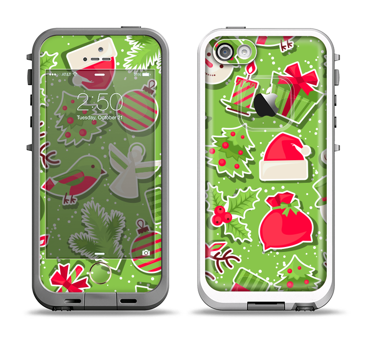 The Red and Green Christmas Icons Apple iPhone 5-5s LifeProof Fre Case Skin Set