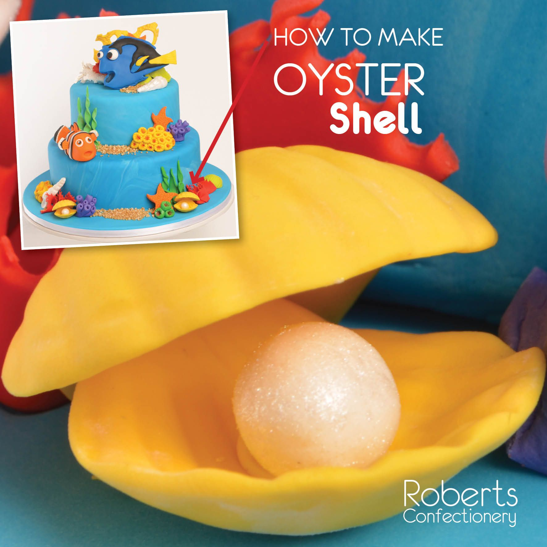 FInding Dory Cake: How to make Oyster Shell - Dust 3D Shell Mould with cornflour to prevent fondant sticking. Roll small balls of Yellow Gum Paste. Press into each shell cavity. Leave to dry. Roll small balls of White Gum Paste into pearls. Dust with Edible Dust. Full recipe on Roberts Confectionery website: http://www.robertsconfectionery.com.au/pages/recipe-sheets