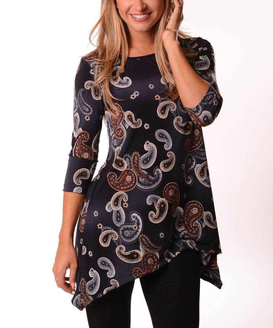 b5171be5e19 This Lbisse Dark Gray   Brown Paisley Three Quarter-Sleeve Sidetail Tunic -  Plus by Lbisse is perfect!  zulilyfinds